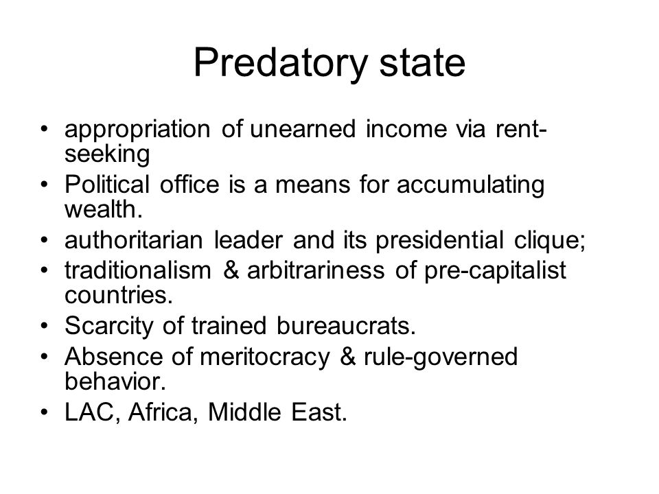 Predatory state appropriation of unearned income via rent-seeking