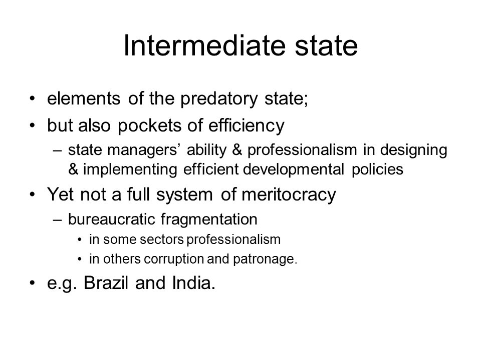 Intermediate state elements of the predatory state;