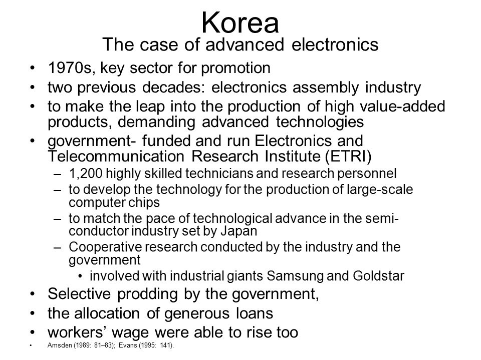 Korea The case of advanced electronics
