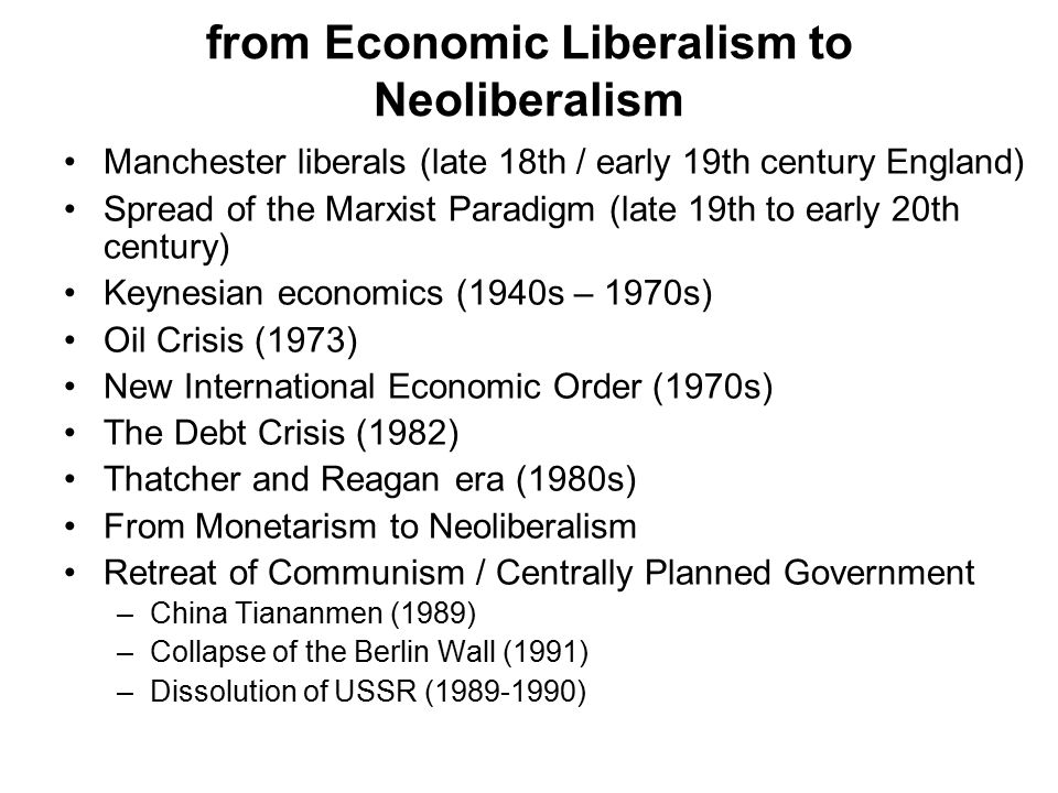 from Economic Liberalism to Neoliberalism