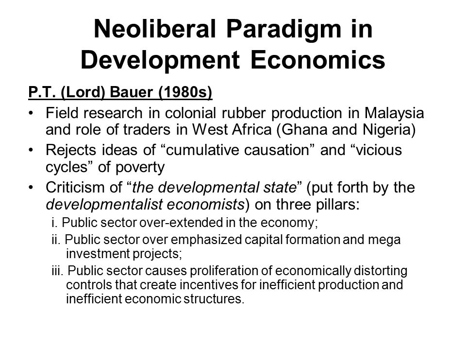 Neoliberal Paradigm in Development Economics
