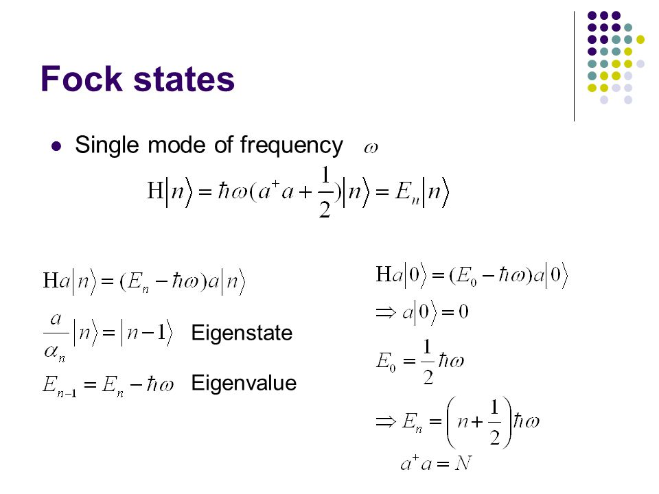 Fock states Single mode of frequency Eigenstate Eigenvalue