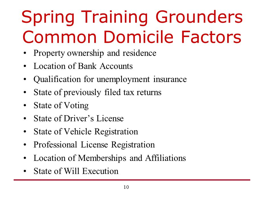 Spring Training Grounders Common Domicile Factors