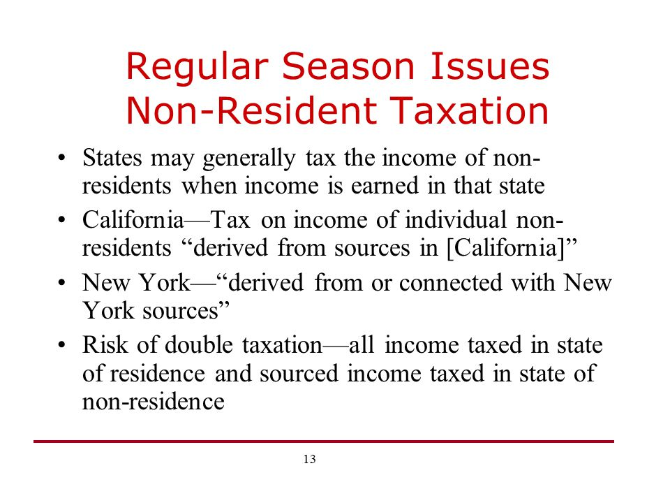 Regular Season Issues Non-Resident Taxation