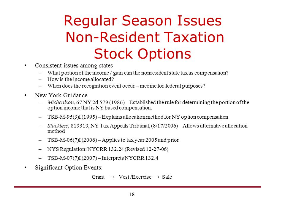 Regular Season Issues Non-Resident Taxation Stock Options