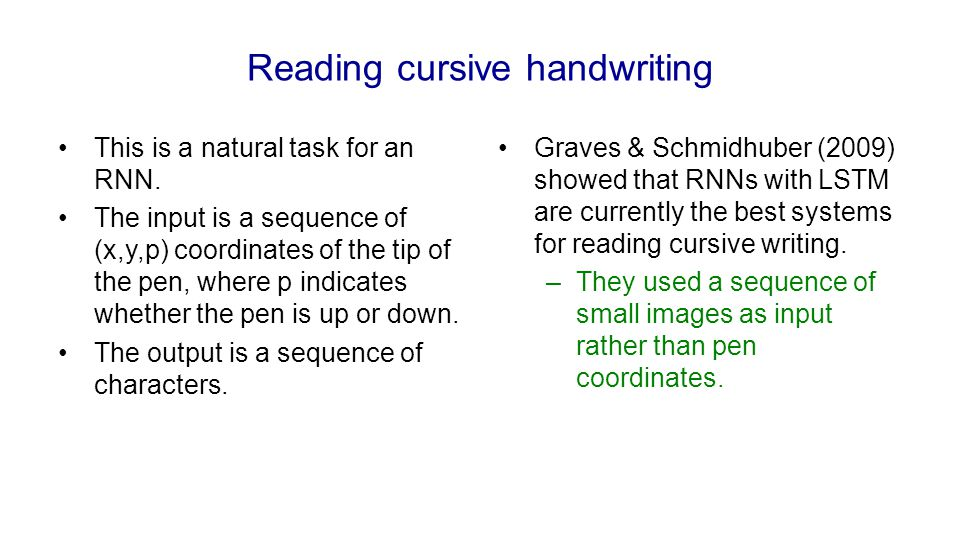 Reading cursive handwriting