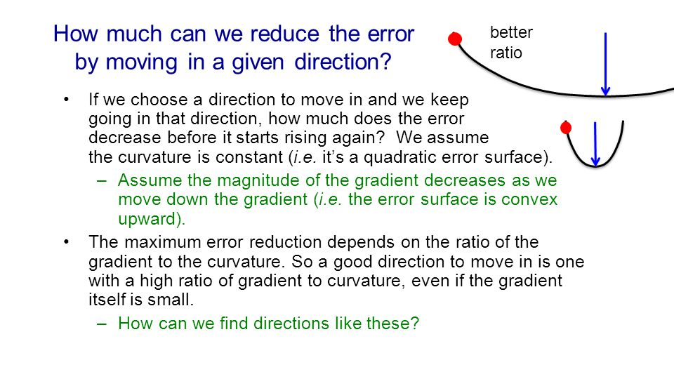 How much can we reduce the error by moving in a given direction