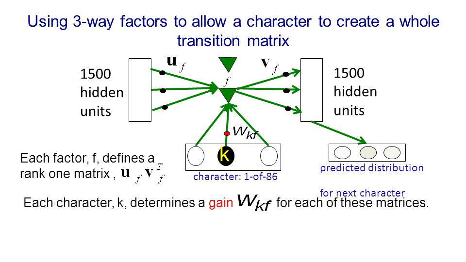 Using 3-way factors to allow a character to create a whole transition matrix
