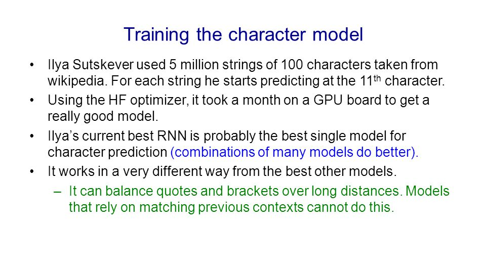 Training the character model