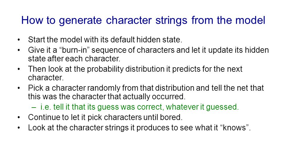 How to generate character strings from the model