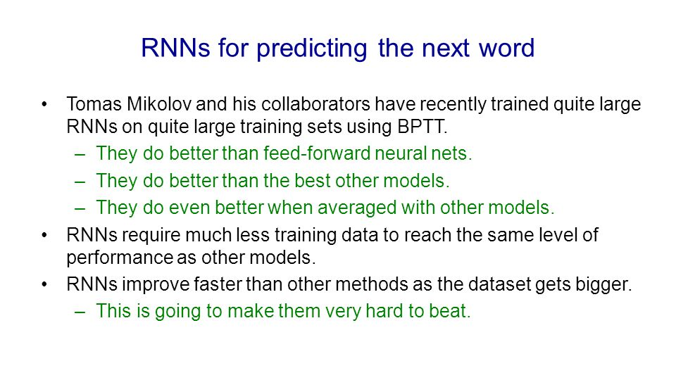 RNNs for predicting the next word