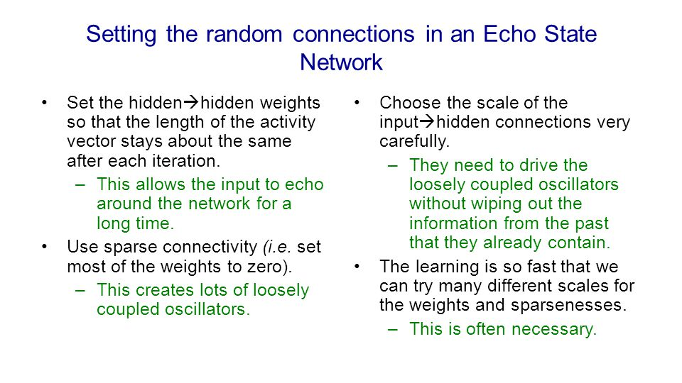 Setting the random connections in an Echo State Network