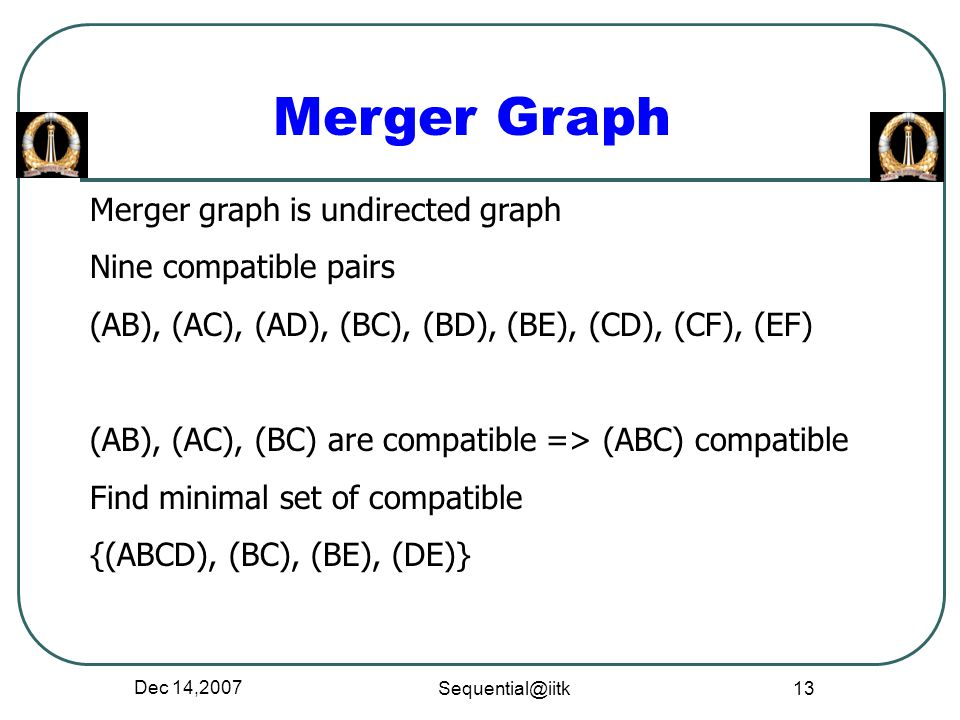 Merger Graph Merger graph is undirected graph Nine compatible pairs