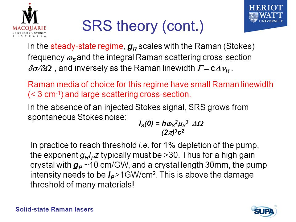 SRS theory (cont.)