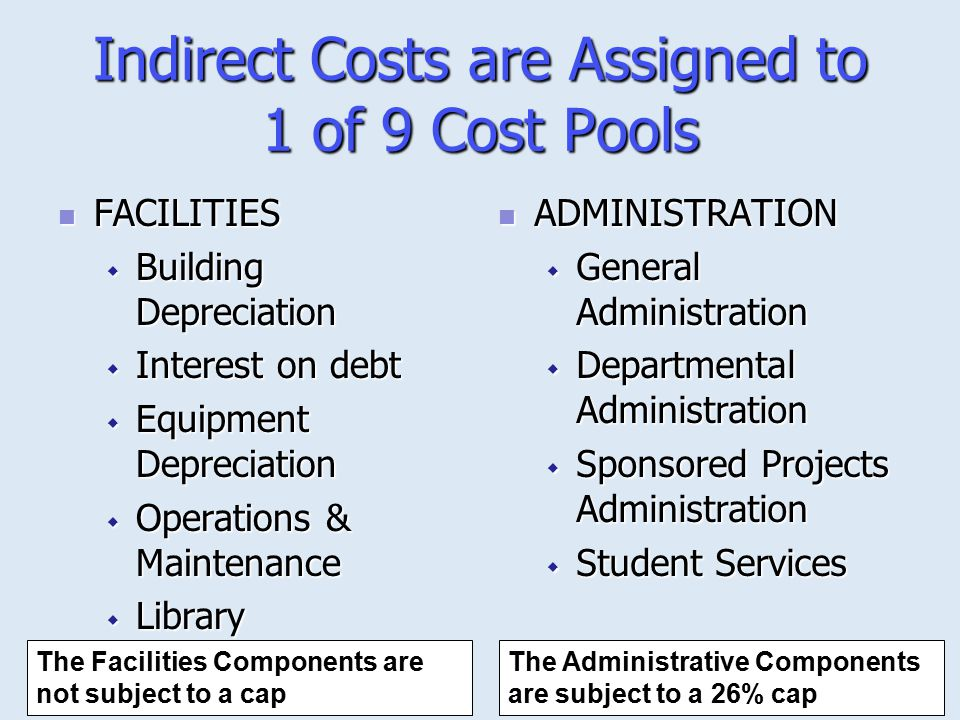 Indirect Costs are Assigned to 1 of 9 Cost Pools