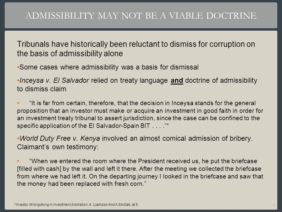 ADMISSIBILITY MAY NOT BE A VIABLE DOCTRINE
