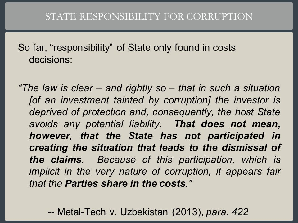 STATE RESPONSIBILITY FOR CORRUPTION