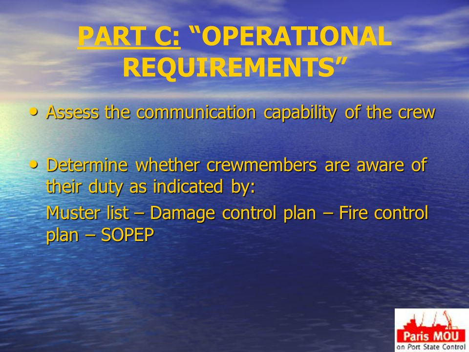 PART C: OPERATIONAL REQUIREMENTS