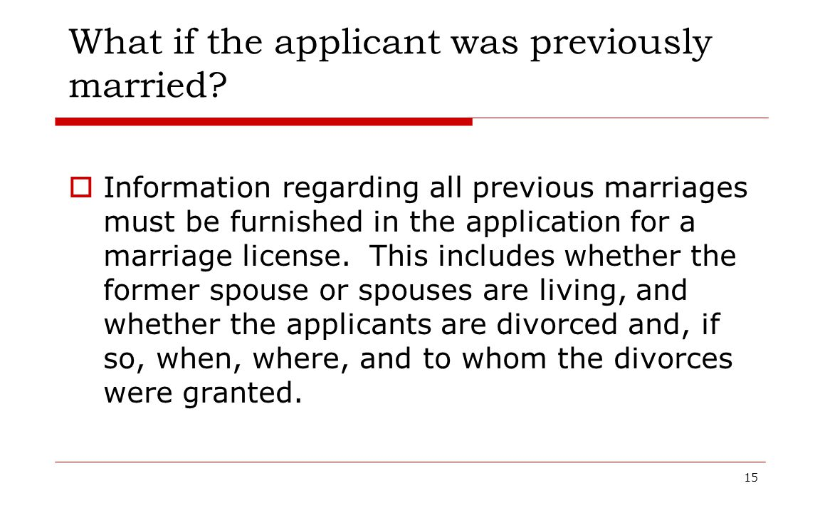 What if the applicant was previously married