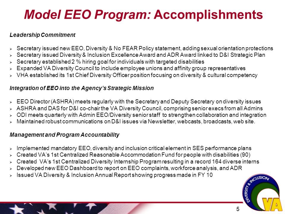 Model EEO Program: Accomplishments