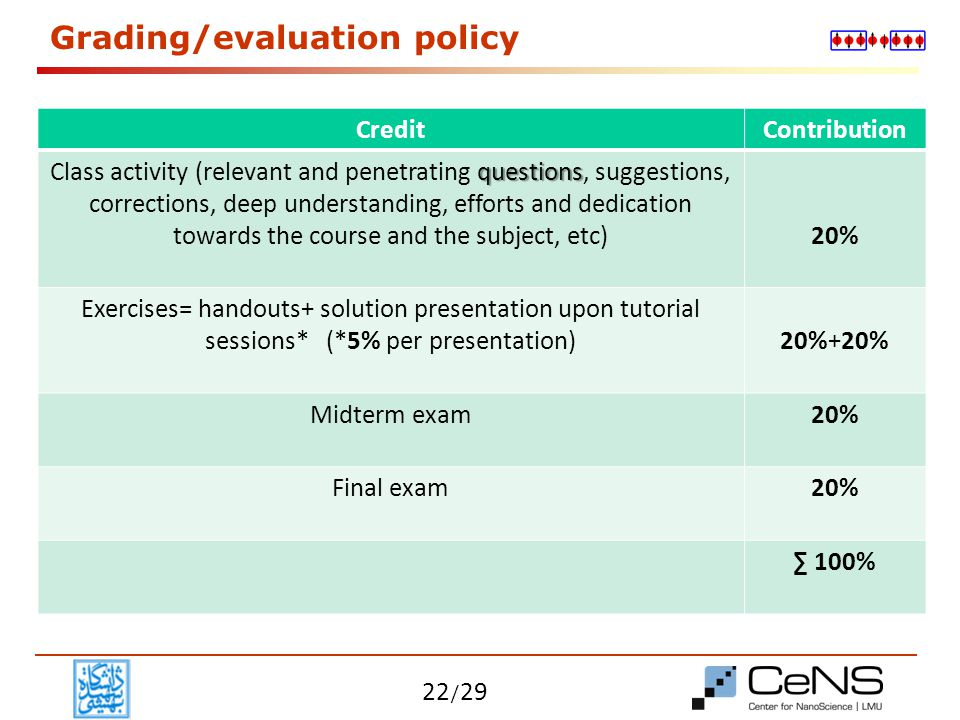 Grading/evaluation policy