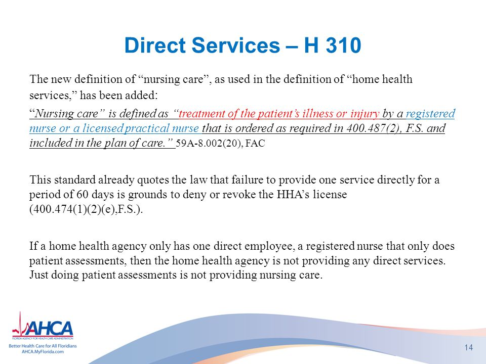 Direct Services – H 310 The new definition of nursing care , as used in the definition of home health services, has been added: