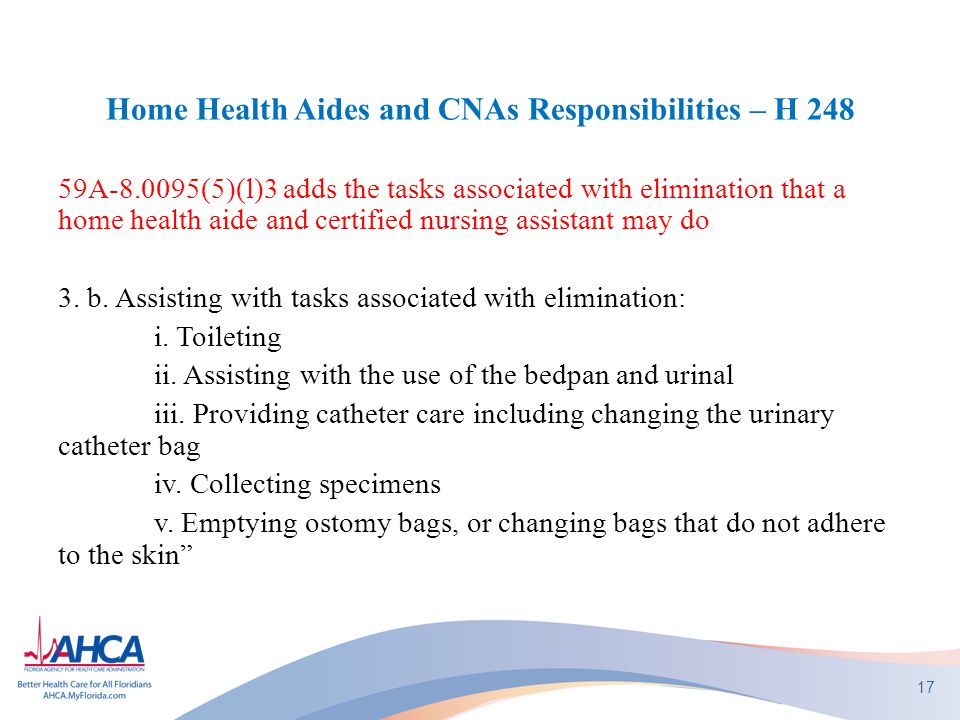 Home Health Aides and CNAs Responsibilities – H 248