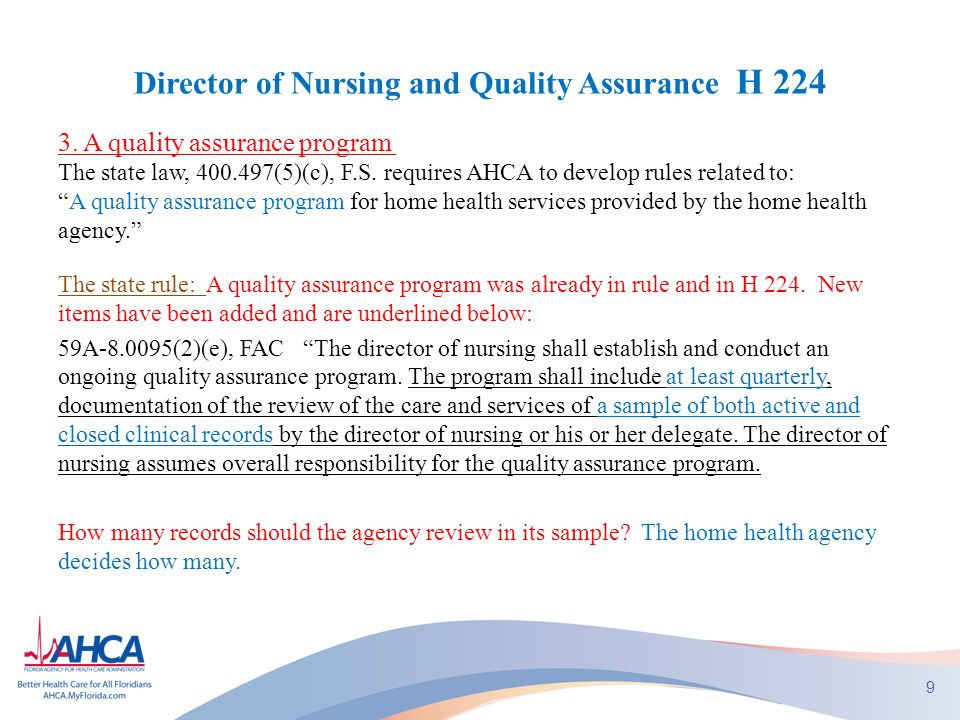 Director of Nursing and Quality Assurance H 224