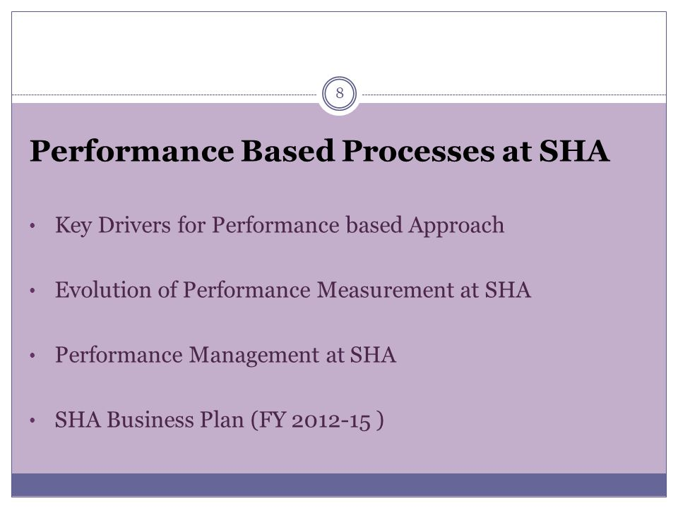 Performance Based Processes at SHA