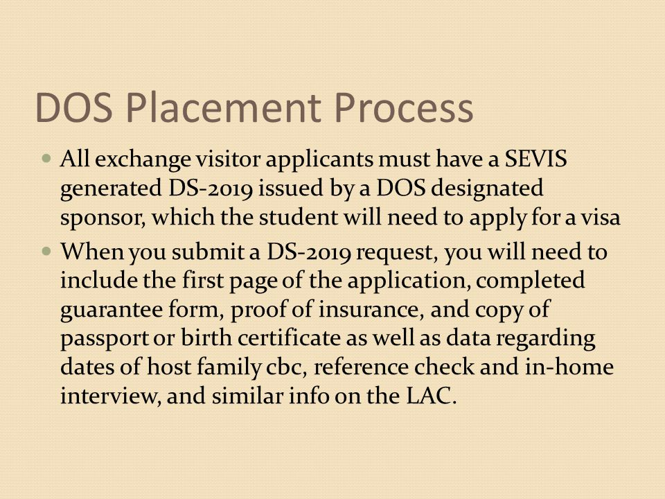 DOS Placement Process