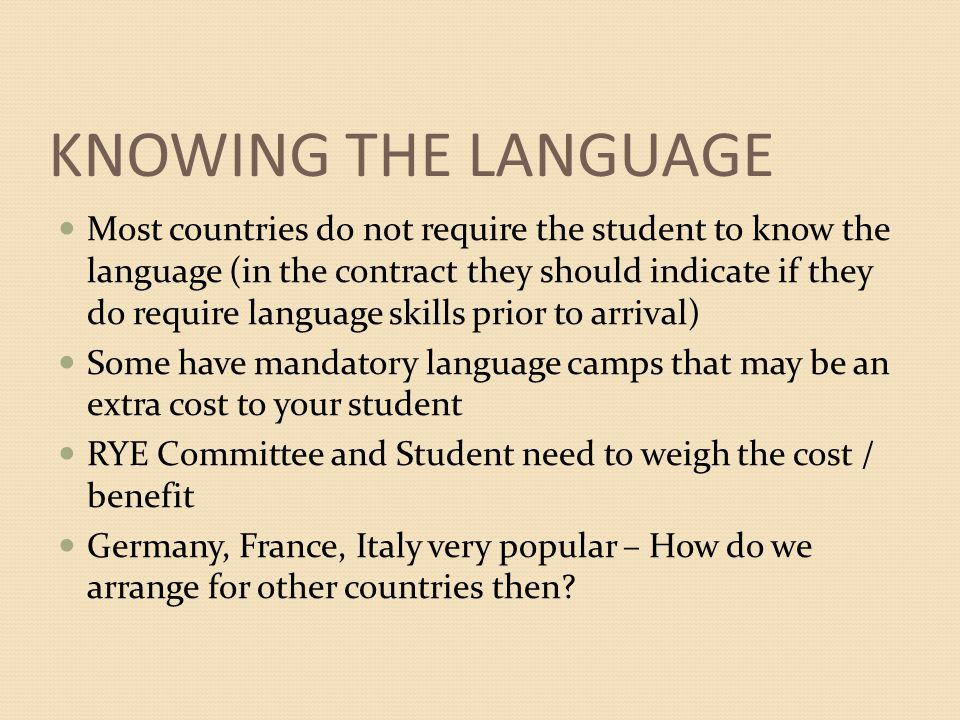 KNOWING THE LANGUAGE