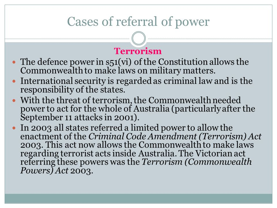 Cases of referral of power