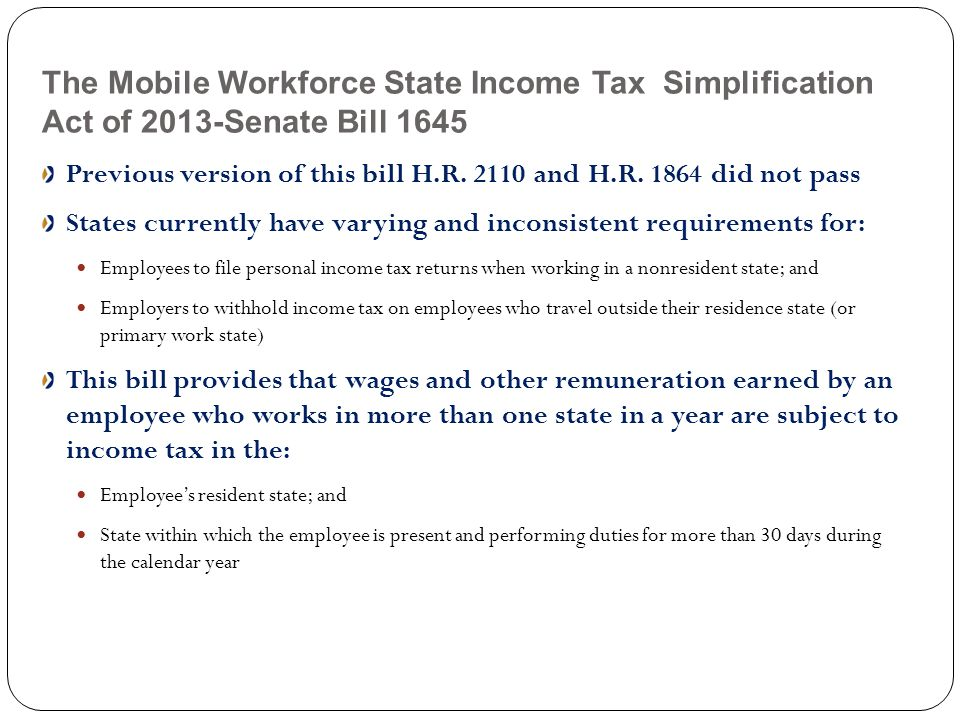 The Mobile Workforce State Income Tax Simplification Act of 2013-Senate Bill 1645