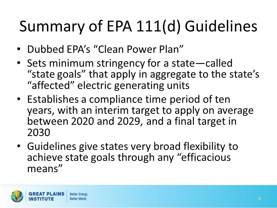 Summary of EPA 111(d) Guidelines