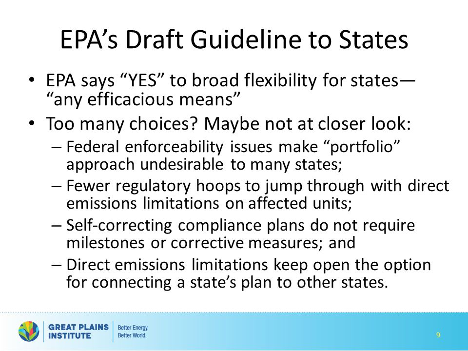 EPA's Draft Guideline to States