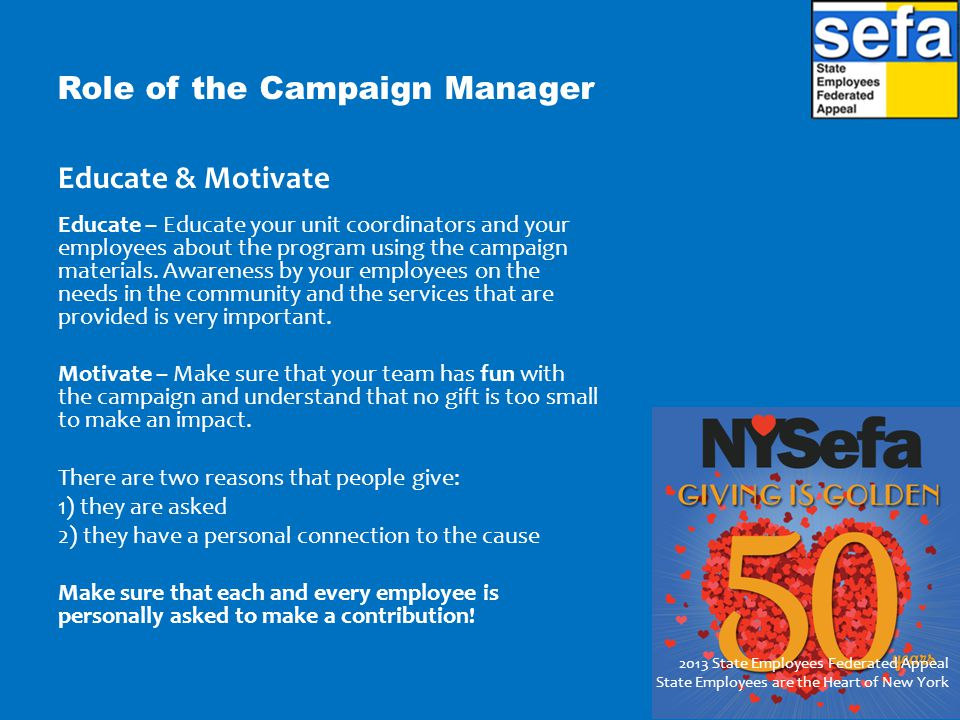 Role of the Campaign Manager