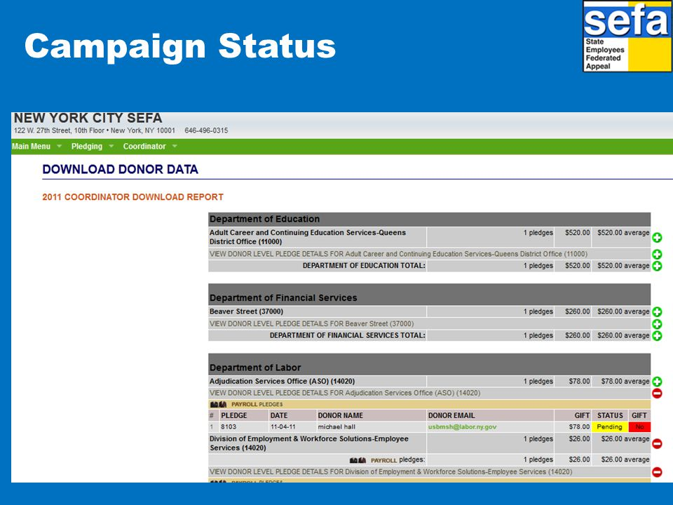 Campaign Status Donors can log in at any time to email or print a copy of the pledge detail