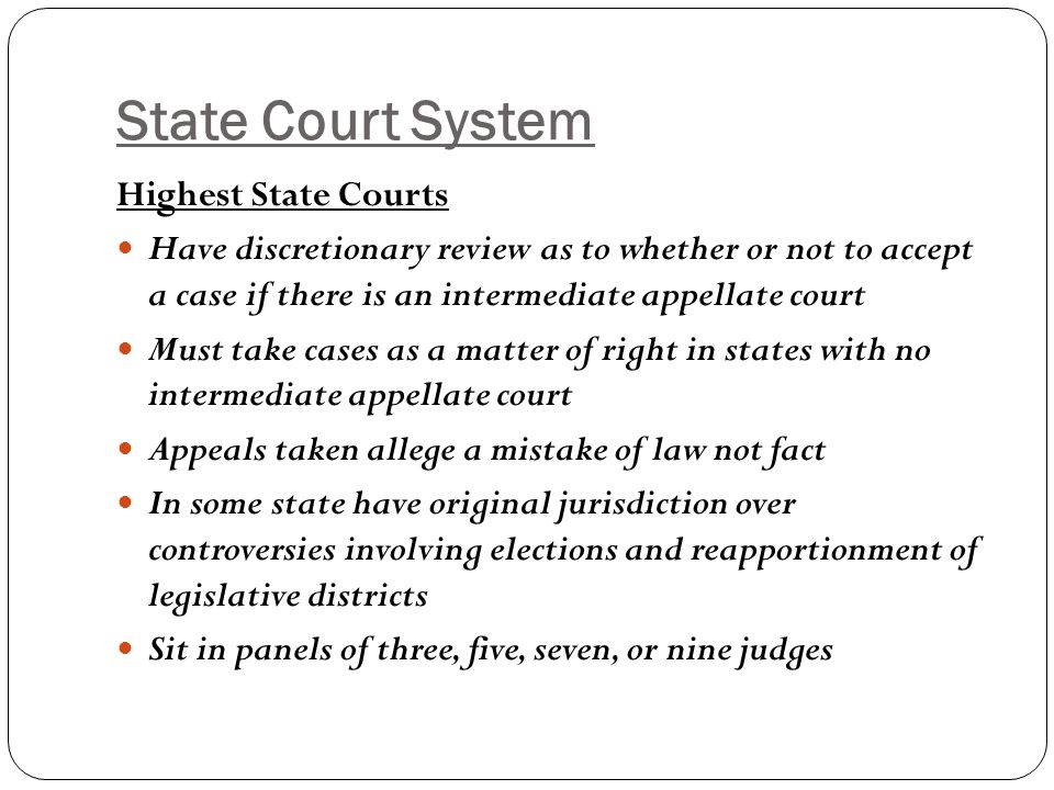 State Court System Highest State Courts