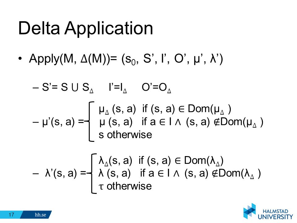 Delta Application Apply(M, ∆(M))= (s0, S', I', O', μ', λ')