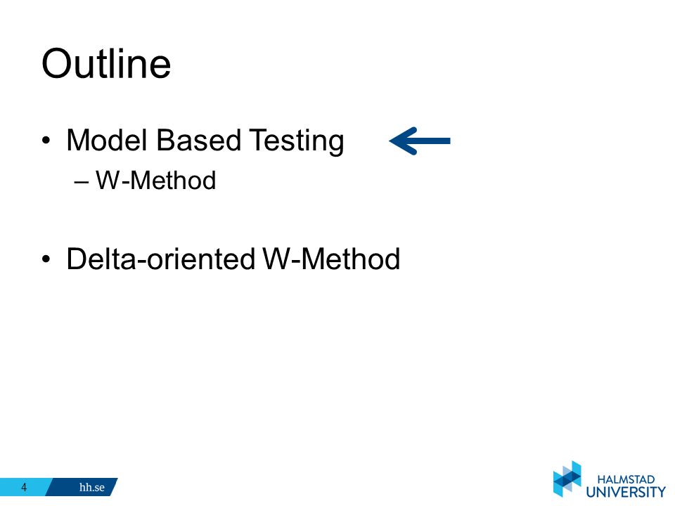 Outline Model Based Testing W-Method Delta-oriented W-Method