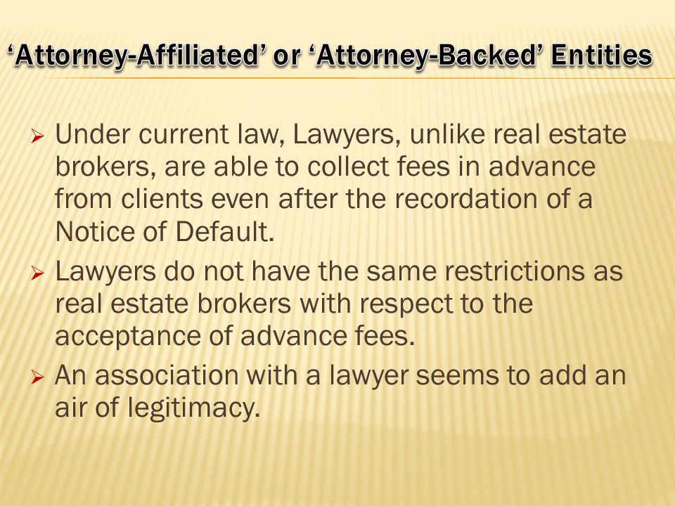 'Attorney-Affiliated' or 'Attorney-Backed' Entities