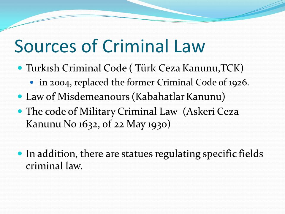 Sources of Criminal Law