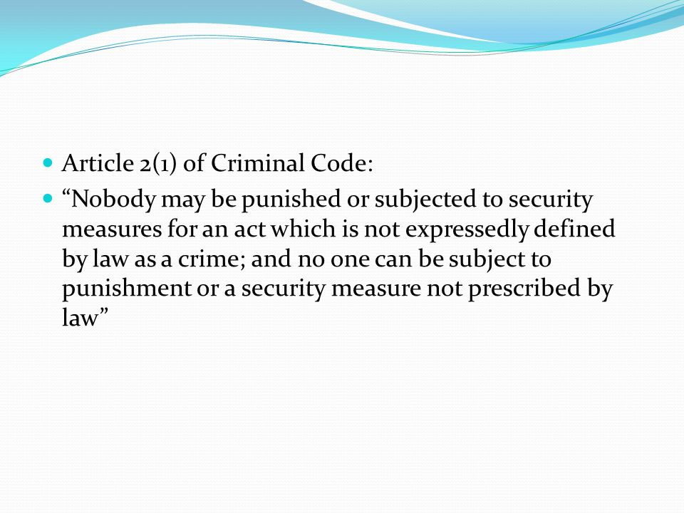 Article 2(1) of Criminal Code:
