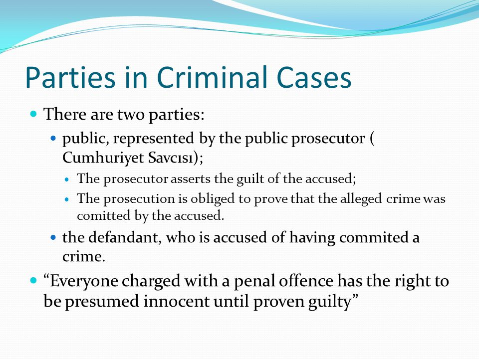 Parties in Criminal Cases