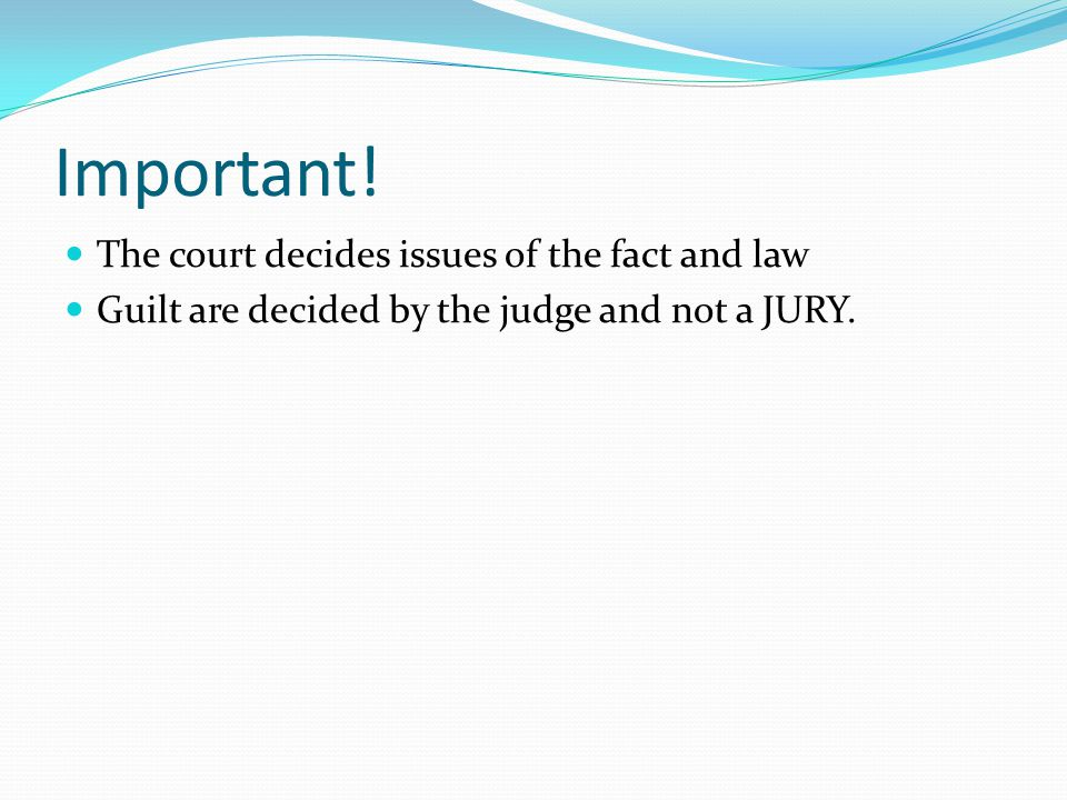 Important! The court decides issues of the fact and law