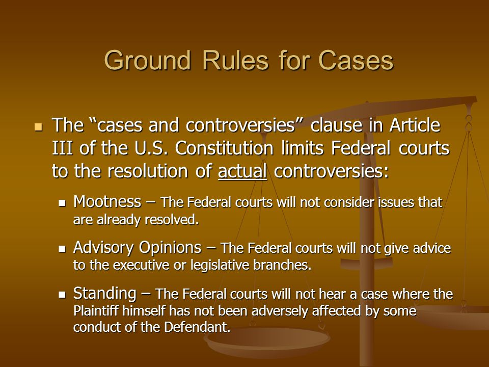 Ground Rules for Cases