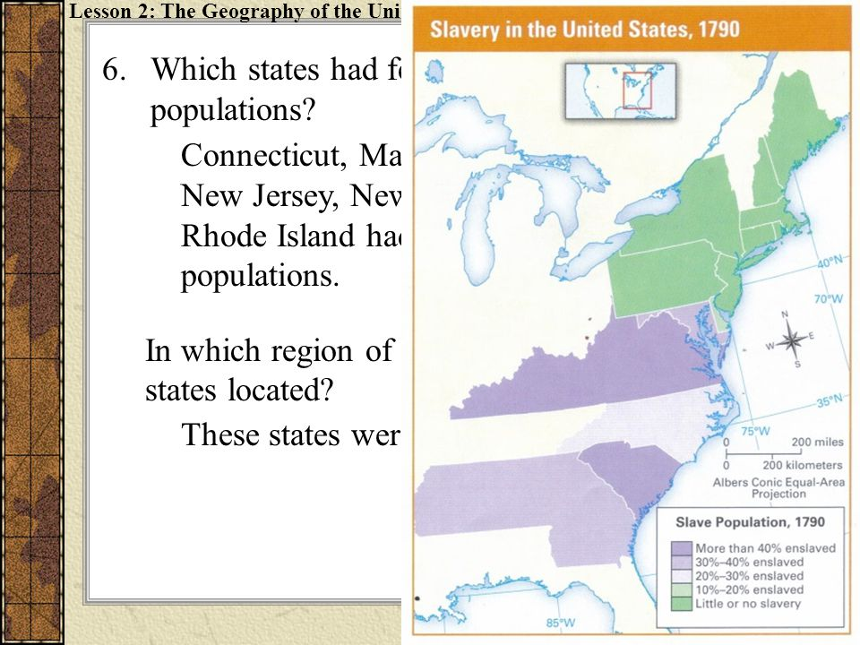 Which states had few or no slaves in their populations