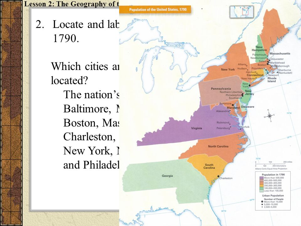 Locate and label the nation's five largest cities in 1790.