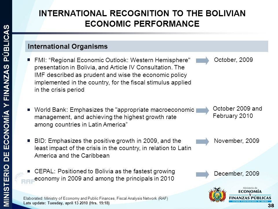 INTERNATIONAL RECOGNITION TO THE BOLIVIAN ECONOMIC PERFORMANCE
