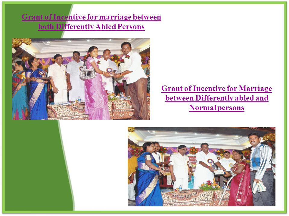 Grant of Incentive for marriage between both Differently Abled Persons